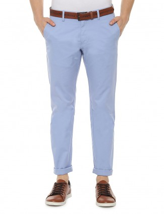 Allen Solly solid sky blue slim fit trouser