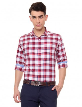 Allen Solly white and red checks shirt