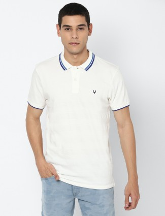 Allen Solly white cotton solid slim fit t-shirt