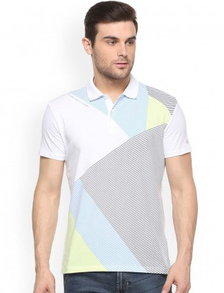 Allen Solly white printed polo t-shirt