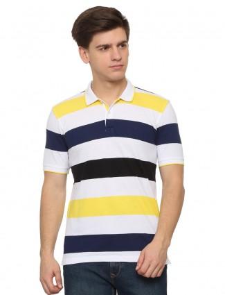 Allen Solly white stripe cotton t-shirt