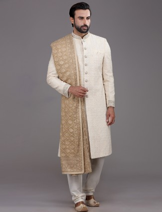 Alluring beige silk sherwani exclusive for wedding