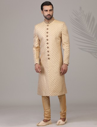 Alluring beige silk sherwani for wedding