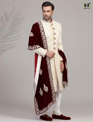 Alluring cream silk sherwani set