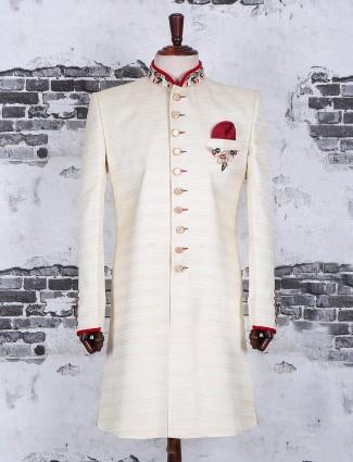 Alluring cream wedding wear indo western