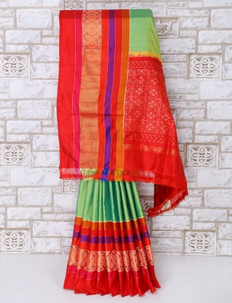 Alluring green patola silk saree for party