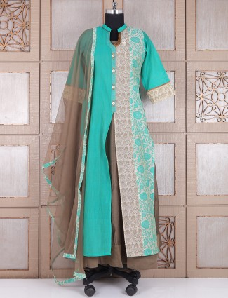 Alluring grey aqua silk long anarkali suit