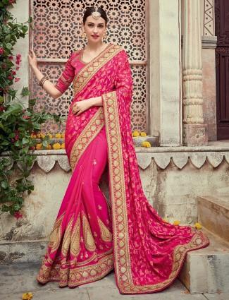 Alluring magenta silk saree