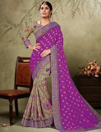 Alluring purple grey art silk brasso half and half saree