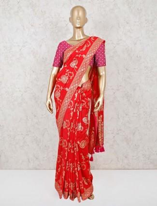 Alluring red dola silk wedding saree
