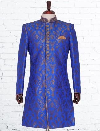 Alluring royal blue brocade classy indo western