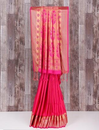 Alluring silk wedding wear pink saree