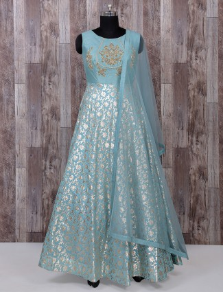 Alluring sky blue anarkali suit