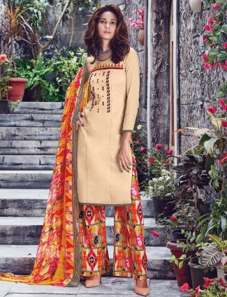 Amazing beige cotton festive wear ready made salwar suit