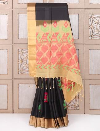 Amazing Black color party wear silk saree