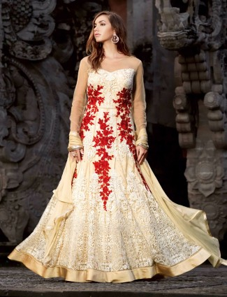 Amazing cream net party wear semi stitched anarkali salwar suit