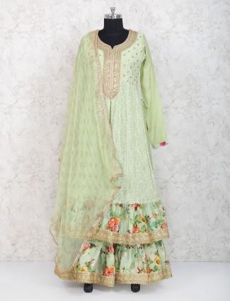 Amazing green designer lehenga cum salwar suit in georgette