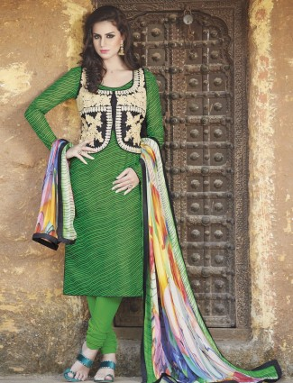 Amazing green festive wear bhagalpuri silk ready made salwar suit