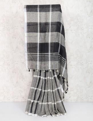 Amazing grey color linen saree