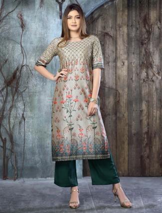Amazing grey cotton silk fabric kurti