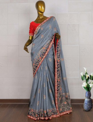Amazing grey silk wedding saree