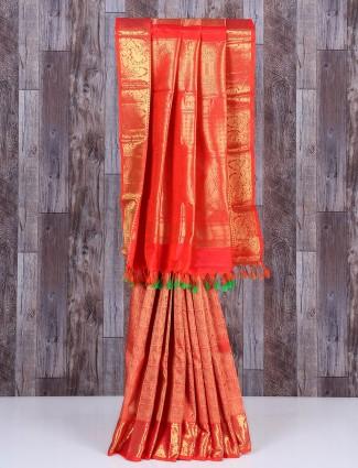 Amazing peach silk saree