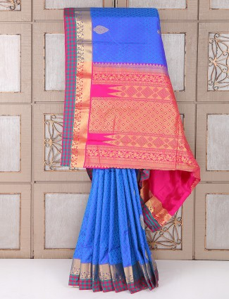 Amazing blue color silk saree