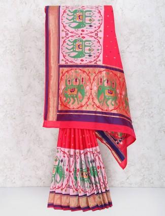 Amazing red semi silk wedding saree