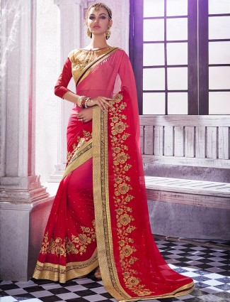 Amazing red shaded chiffon wedding wear sari