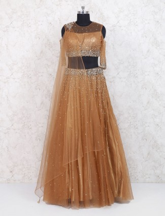 Amazing rust orange net lehenga choli