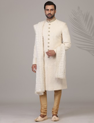 Amazing silk sherwani in cream for wedding