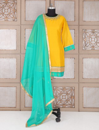 Amazing Yellow silk punjabi suit