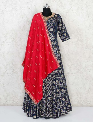 Anarkali floor length suit in navy banarasi silk