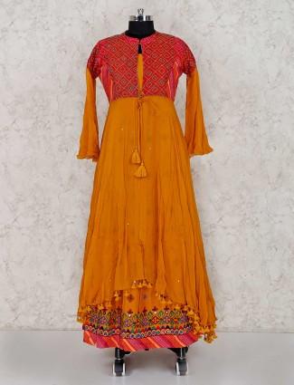 Anarkali in gold cotton silk jecket style