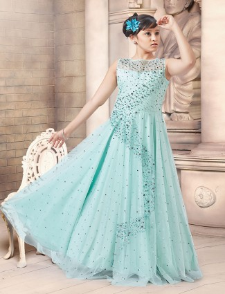 Anarkali light blue color net fabric gown