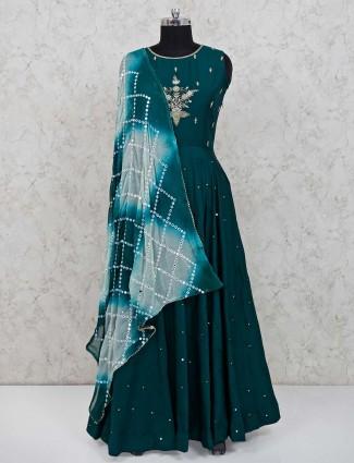 Anarkali salwar suit in botton green color cotton