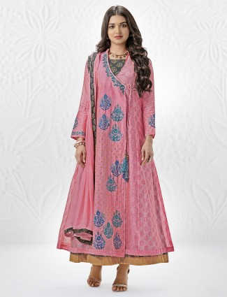 Anarkali style pink palazzo suit