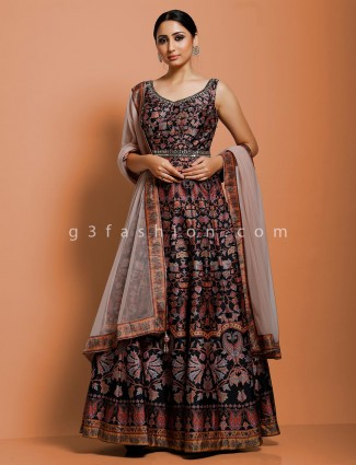 Anarkali suit in black cotton silk printed