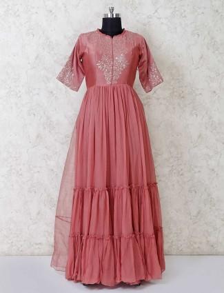 Anarkali suit in dusty pink georgette