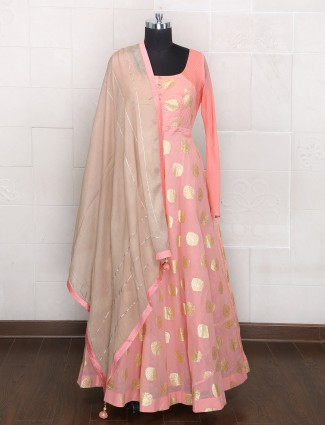 Anarkali suit in pink hue silk fabric
