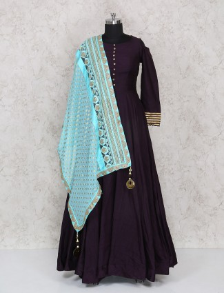 Anarkali suit in purple color for festive wear