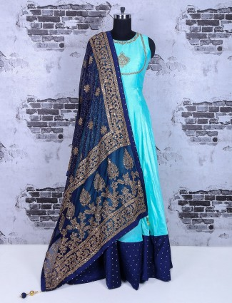 Anarkali suit in sky blue silk fabric