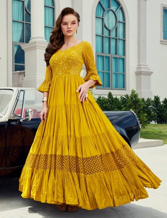Anarkali suit in yellow colour georgette