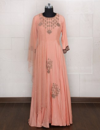 Anarkali suit peach color for wedding