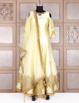 Anarkali suit silk in lemon yellow color