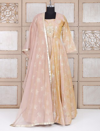 Anarkali wedding wear suit in beige color