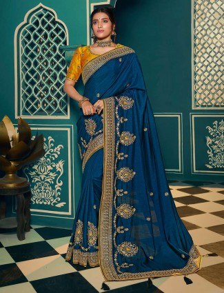 Angelic blue soft cotton silk saree