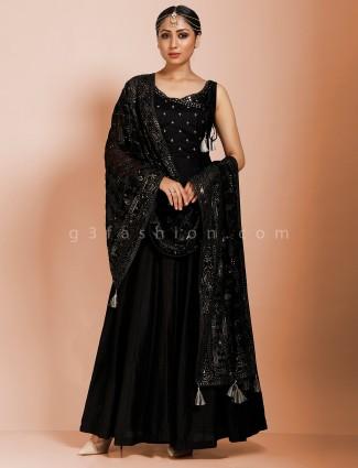 Angrakha floor length designer suit in black raw silk