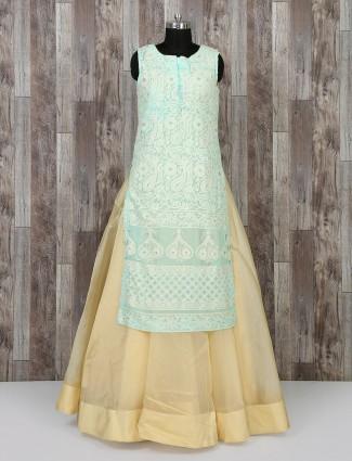 Aqua and beige color wedding wear salwar suit