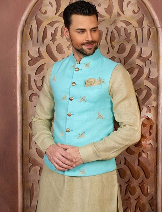 Aqua and beige colored party function waistcoat set